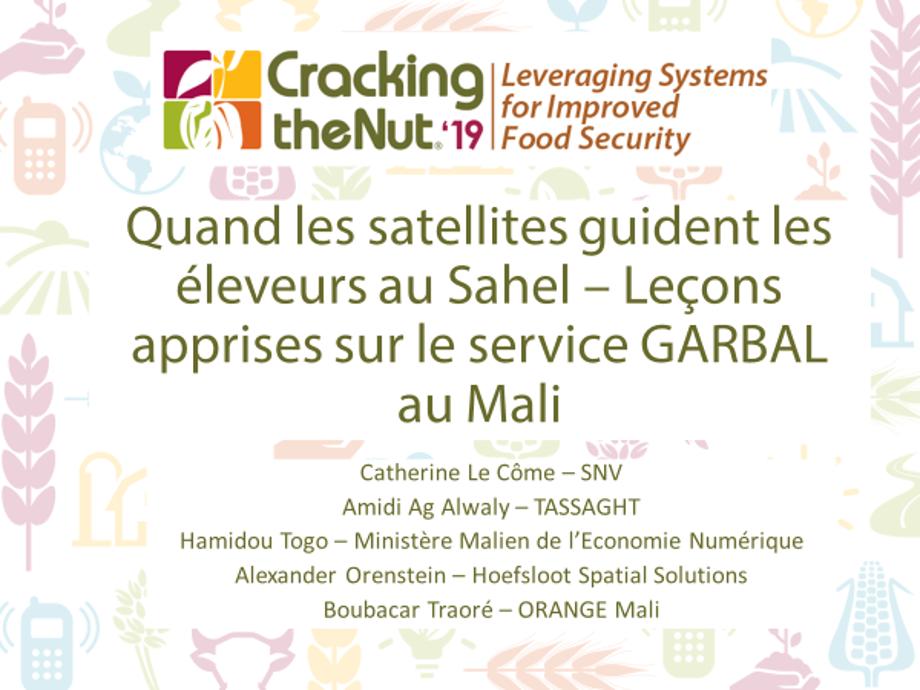 (FR) Session 1.4 : Quand les satellites guident les éleveurs au Sahel – Leçons apprises sur le service GARBAL au Mali
