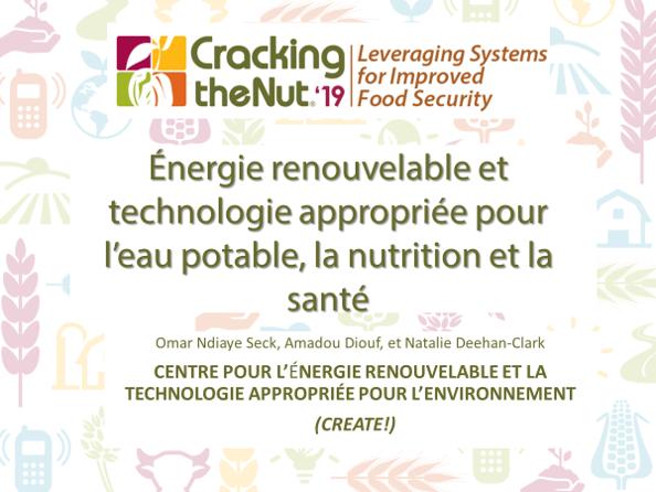 (FR) Session 2.1 : Énergie renouvelable et technologie appropriée pour l'eau potable, la nutrition et la santé